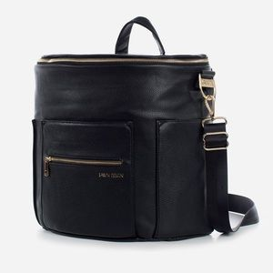 Fawn Black Leather Diaper Bag Backpack